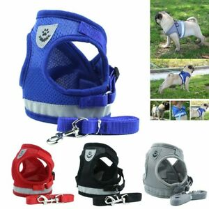 Small-Dog-mesh-Vest-harness-Collar-with-Leash-soft-chest-strap-adjustable-XS-XL
