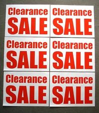 (6) CLEARANCE SALE Window SIGNS  18 x 24 Red on White Paper