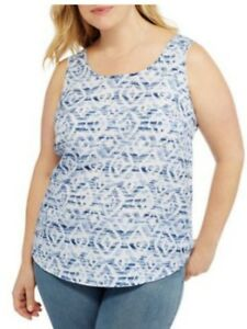 316b1b51f7dd2 Faded Glory Women s Woven White Tank Top Sleeveless Shirt Plus Size ...