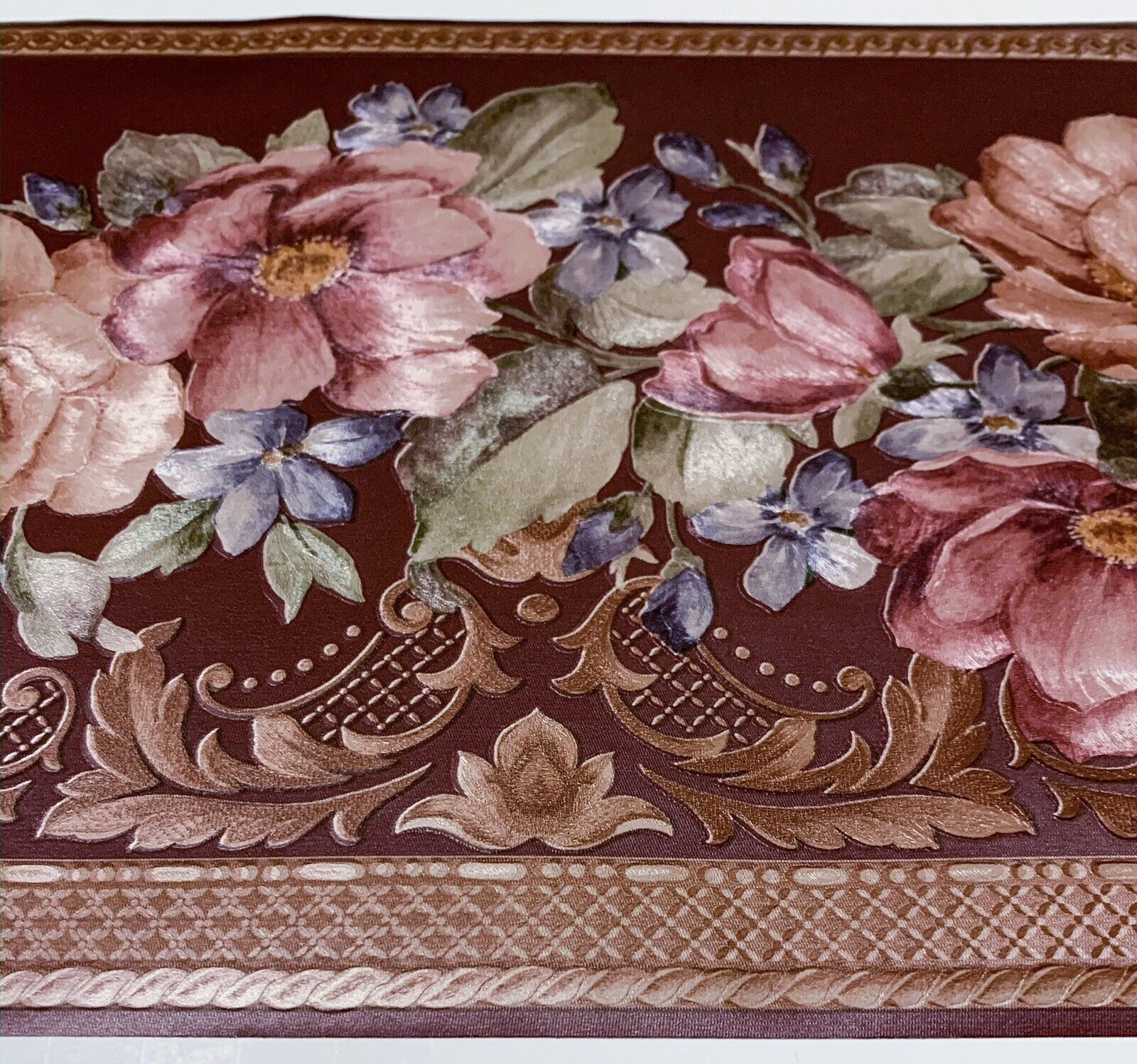 1 Roll Textured Victorian Maroon Floral Wallpaper Border By