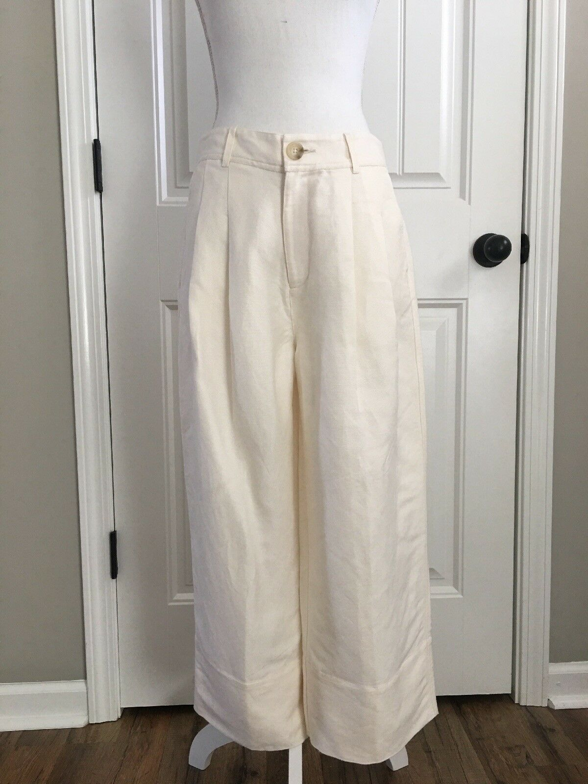 New Madewell Madewell Linen Blend Wide Leg Pants in White Wash Sz 6 H8685