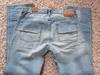 American Eagle Slim Jeans Mens 33x34 Light Sponge Wash Free Ship