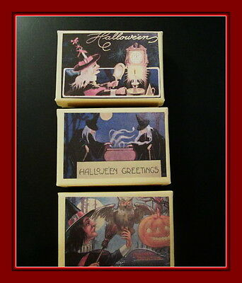 THREE VINTAGE POSTCARD GIFT BOXES FOR HALLOWEEN