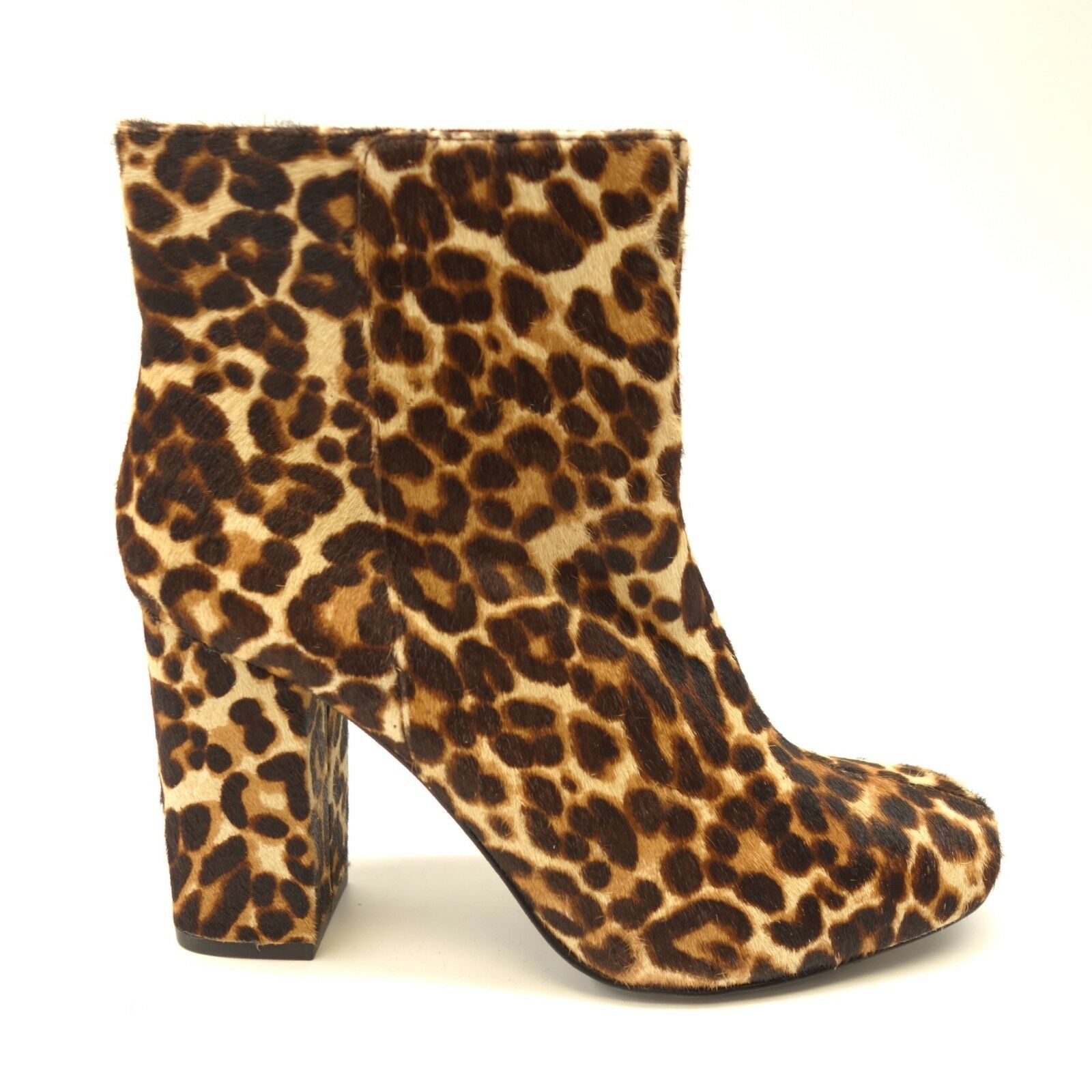 New Charles David Womens Studio Ankle Boot Leopard Leather Booties US 9