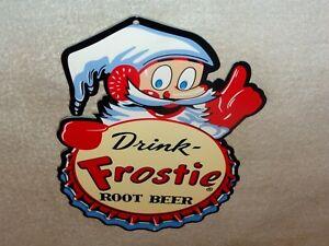 VINTAGE-034-DRINK-FROSTIE-ROOT-BEER-W-ELF-034-12-034-METAL-SODA-POP-GASOLINE-amp-OIL-SIGN