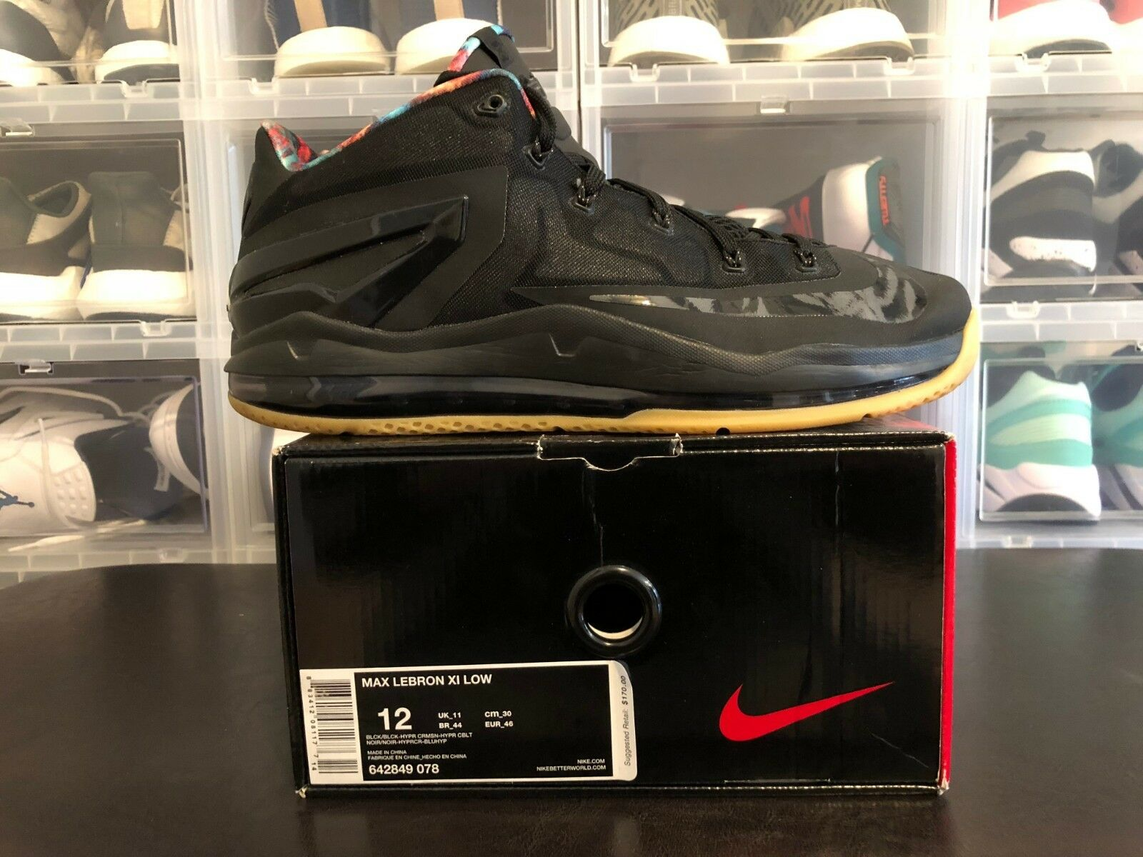 Nike LeBron 11 Low Nero Gum 642849-078 SIZE 12 VNDS