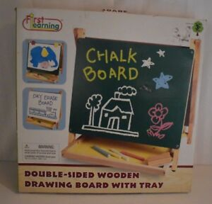 FIRST-LEARNING-Co-Wooden-Double-Sided-DRAWING-BOARD-with-tray-ages-3-new