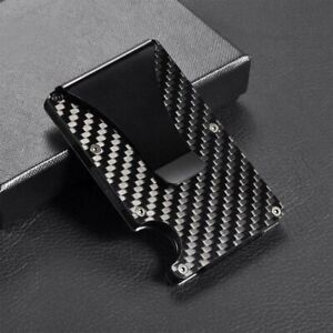 RFID-Blocking-Carbon-Fiber-Minimalist-Slim-Money-Clip-Front-Pocket-Mens-Wallet