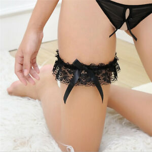 White-Black-Lace-Ribbon-Bowknot-Wedding-Bridal-Hen-Gift-Garters-Adjustable-HV-ln