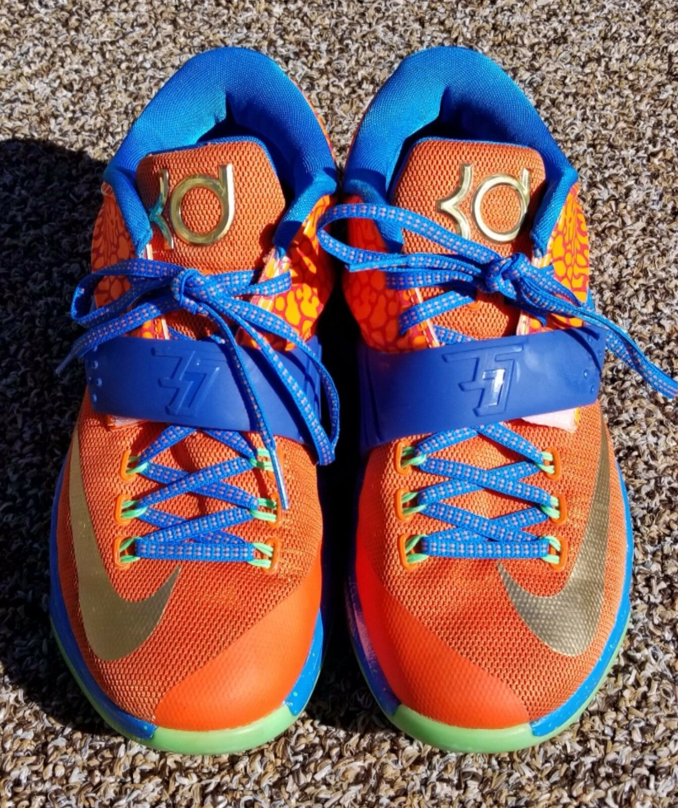 Nike id men's size 7 basketball sneakers orange and bluee with gold swish