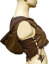 Hooded Adjustable PIXIE STEAMPUNK Festival Waistcoat Sz UK 6 – 12 Brown