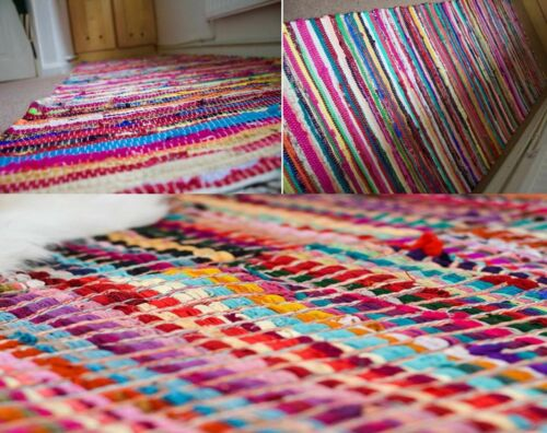 Small Large Handmade Indian Chindi Rug Rugs Carpet Woven Loom Recycled Door Mats