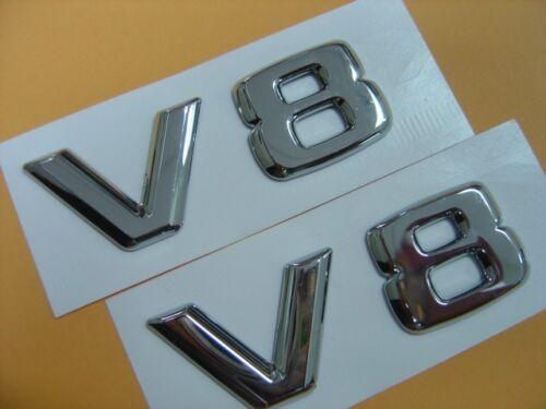 EMBLEM BADGES MERCEDES BMW ASTON MARTIN AUDI R8 JAGUAR TWO PCS OF CHROME V8