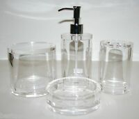 Hotel Balfour 4 Pc Set Clear Acrylic Round Soap Dispenser+dish+tooth+jar,lid