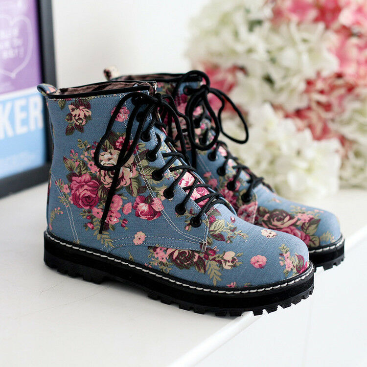 Womens Fashion Punk Lace Up Chunky Low Heels Retro Flowers Military Boots Size