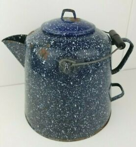 VTG-Large-Enamelware-Speckled-Navy-Blue-Coffee-Pot-Cowboy-Camp-Kettle-11-5-034-tall