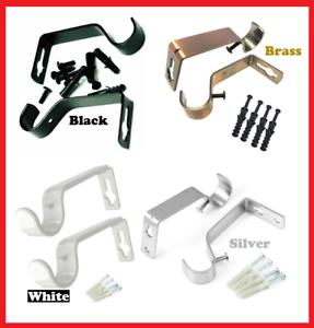 2 Pcs Metal Curtain Pole Holder Brackets S Hooks Silver