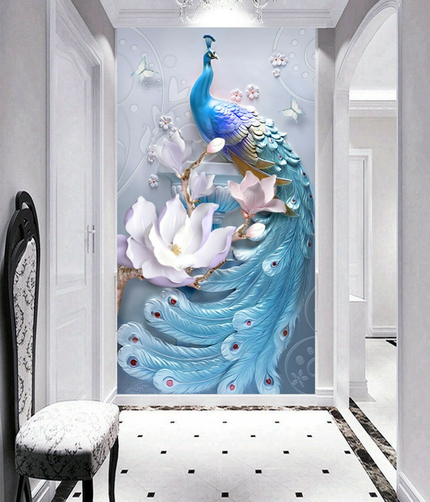 3D Flowers Peacock I045 Wallpaper Mural Sefl-adhesive Removable Sticker Kid Weny