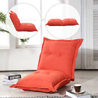 Homcom Sofa Bed Chaise Folding Pillow Lounger Soft Linen Convertible Dark Orange on sale
