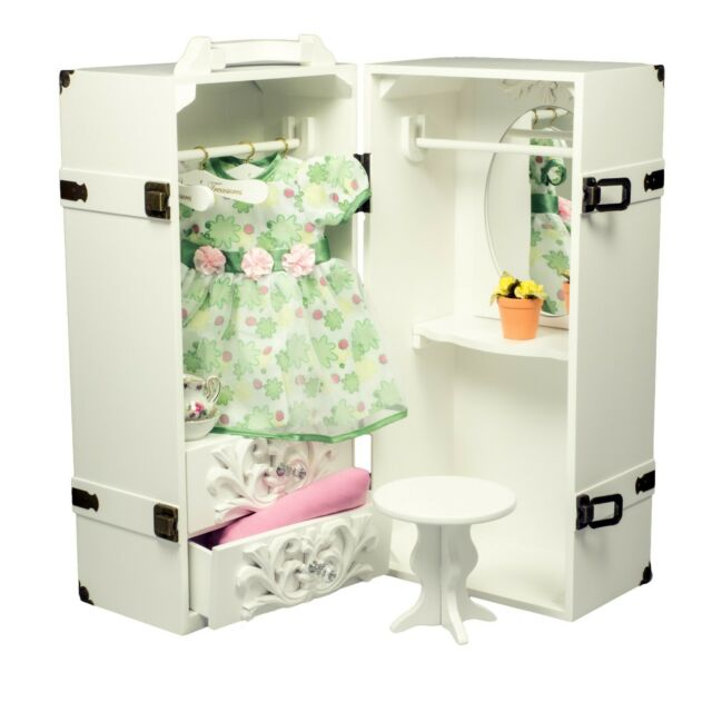 Doll Furniture Storage Trunk Armoire, 18 Inch Doll Armoire