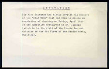STAR WARS REPRO 1976 . SIR ALEC GUINNESS CREW PARTY INVITATION . NOT DVD