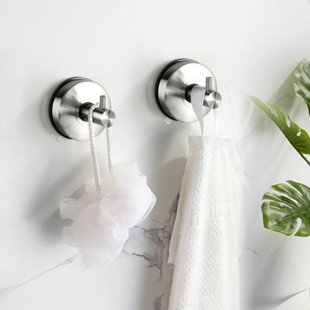 Yohom 2PCS Bathroom Strong Vacuum Suction Cup Towel Hooks Holder Stainless