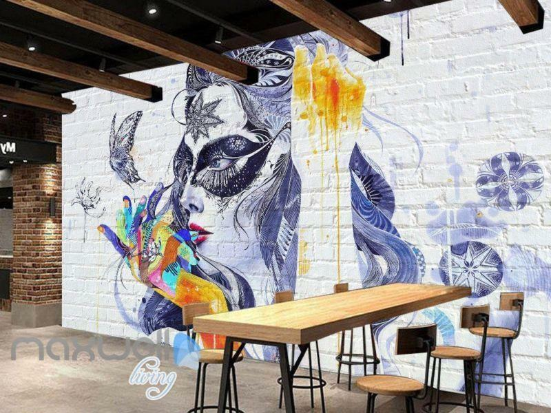 3D Graffiti Butterfly Lady Wall Murals Wallpaper Wall Art Decals Decor