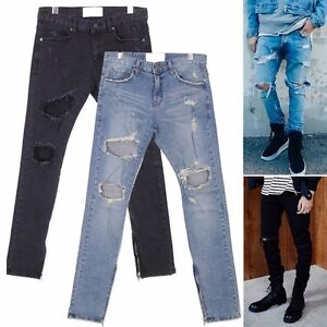 New Distressed Ripped Blow Out Knee Ankle Zip Denim Jeans Kanye ...