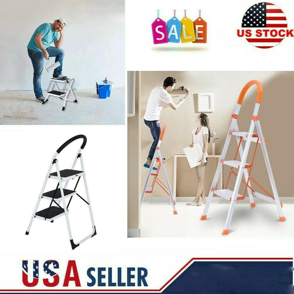 3 Step Ladder Folding Stepladder Aluminum Step Stool Ladder