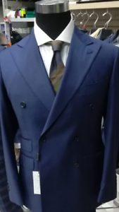bluee double breasted super 150 Cerruti wool suit with wide peak lapel