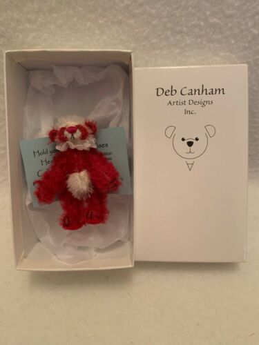 "DEB CANHAM'S ""KISSES"" 3"" RED//WHITE MOHAIR PANDA FULLY JOINTED NIB #//300"