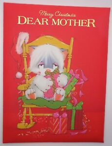 NEW BOXED PADDED CHRISTMAS CARD DEAR MOTHER KITTEN PRESENTS & ROCKING CHAIR