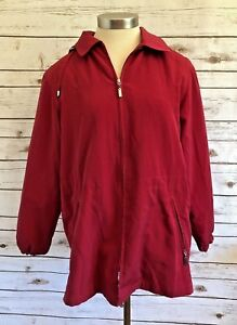 GALLERY-PETITE-Women-Zip-Up-Hooded-Lined-Collared-Red-Jacket-Coat-Size-Medium