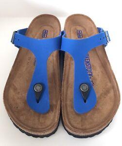 c42b973f3c7 Birkenstock Gizeh 847601 size 37 L6 R Blue Nubuk Leather Soft ...