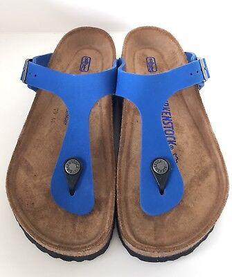 Details about Birkenstock Gizeh 847601 size 39 L8M6 R Blue Nubuk Leather Soft footbed Sandals
