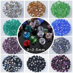 200pcs-3mm-Bicone-Faceted-Crystal-Glass-Loose-Spacer-Beads-lot-Jewelry-Making