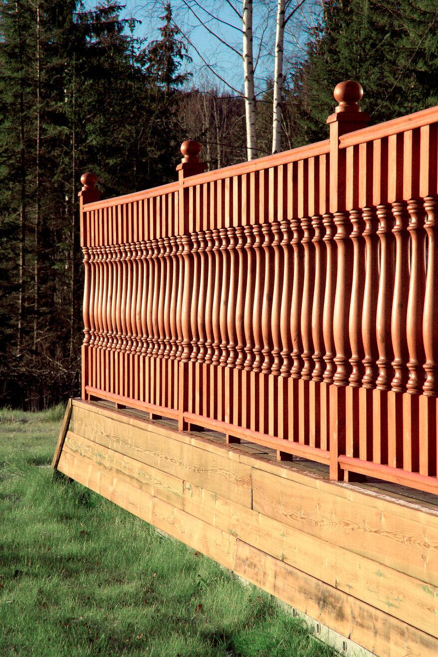 Zaun+Balkon+Treppe+Dekoration Pfostenabschluß Holz 105x105mm f Made in Sweden