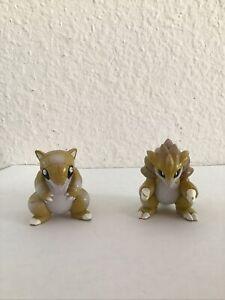 Vintage RARE Pokemon Sandshrew & Sandslash Bandai TOMY Figures Lot 1.75 Inch