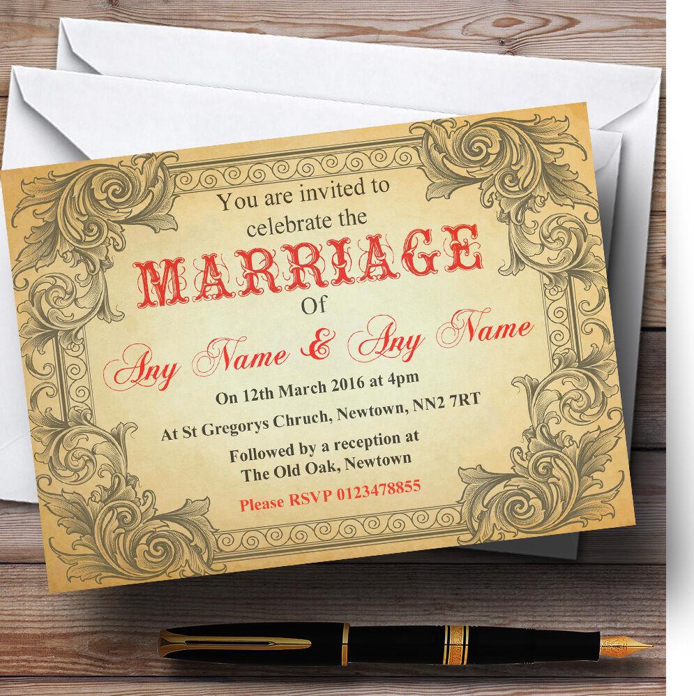 Typography Vintage rot Postcard Personalised Wedding Invitations