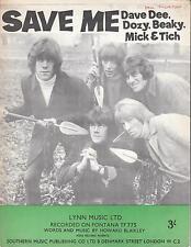 Save Me - Dave Dee, Dozy, Beaky, Mick & Tich - 1966 Sheet Music