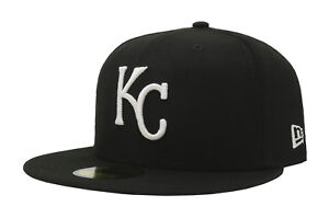 New Era 59Fifty Hat MLB Kansas City Royals Mens Black White Fitted 5950 Cap