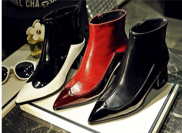 Women's ankle boots pointed toe zipper med heel chunky patent leather shoes SZ