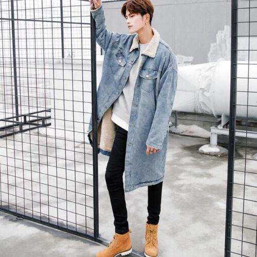 Men Lapel Faux Lining Denim Long Trench Coat Casual Cotton Jacket Long Knee New
