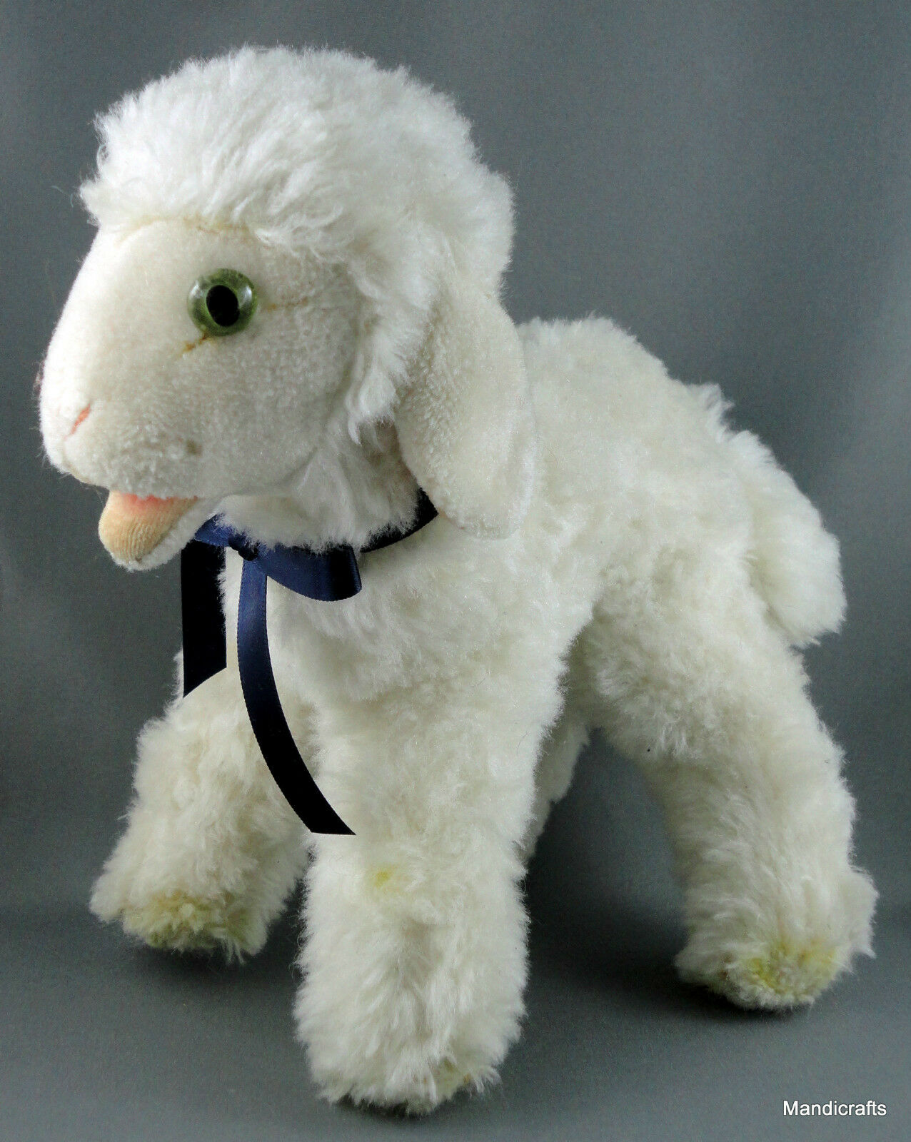 Steiff Cosy Lamby Lamb Sheep Dralon Plush 22cm 9in 1960s Glass Eyes no ID Vtg