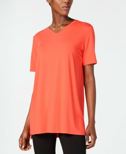 NEW$148 Eileen Fisher Petite Red Lory SIGNATURE VISCOSE JERSEY V Neck Tunic Top