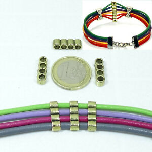 34-Separadores-Para-Cordon-4-Agujeros-T263A-Oro-Viejo-Cuir-Pelle-Beads-Leather