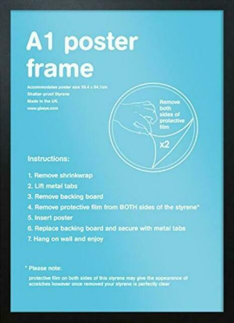 A1 Styrene Clip Frameless Photo Picture Frame 59.4 x 84.1cm Pack of 3