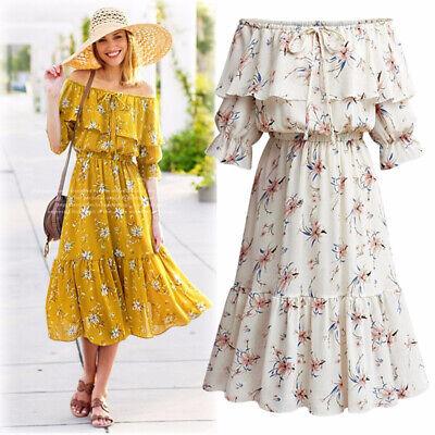 Women's Off Shoulder Chiffon Long Dress