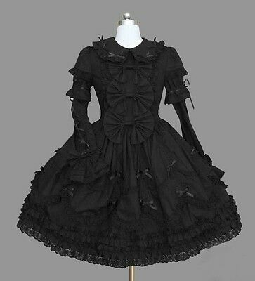 Ladies Black Gothic Victorian Lace Layered Cosplay Lolita Dress Outfit Costume