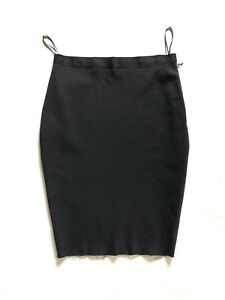 LANVIN black wool mix stretch pencil skirt  - size Fr. 40 - jupe